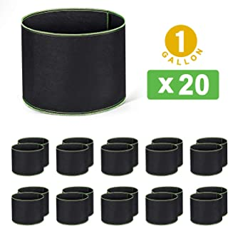 Cyttengo 20-Pack 1 Gallon Grow Bags Heavy Duty Aeration Fabric Pots Thickened Nonwoven Fabric Pots Plant Grow Bags