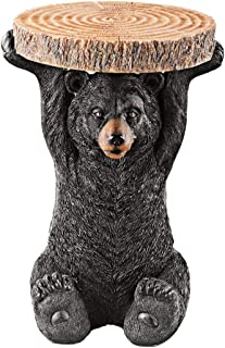 Collections Etc Decorative Black Bear Accent Table and Statue with Hand Painted Details for Indoor/Outdoor