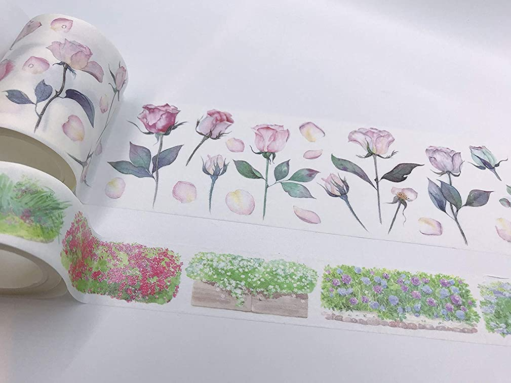 Rose Floral Print washi Tape/Japanese Masking Tape Set of 2 Rolls. Incl Extra Wide. for scrapbooks, Wall Paper Borders, Crafts and to Decorate Your Next Garden Tea Party!