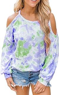Miracle Women Off The Shoulder Long Sleeve Shirts Tie-Dye Crewneck Sweatshirt Oversized Pullover T-Shirt