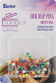 Darice 4mm Map Pins with Colored Heads, Assorted Color