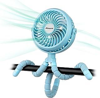 Ventilador de cochecito con batería con clip de trípode flexible con 3 velocidades y ventilador personal giratorio para asiento de coche, cuna bicicleta caminadora (azul)