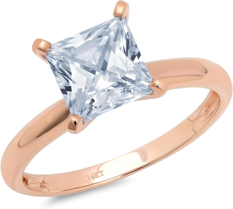 1.9ct Brilliant Princess Cut Solitaire Designer Genuine Natural Sky Blue Aquamarine Ideal VVS1 4-Prong Engagement Wedding Bridal Promise Anniversary Ring Solid 14k Rose Gold for Women