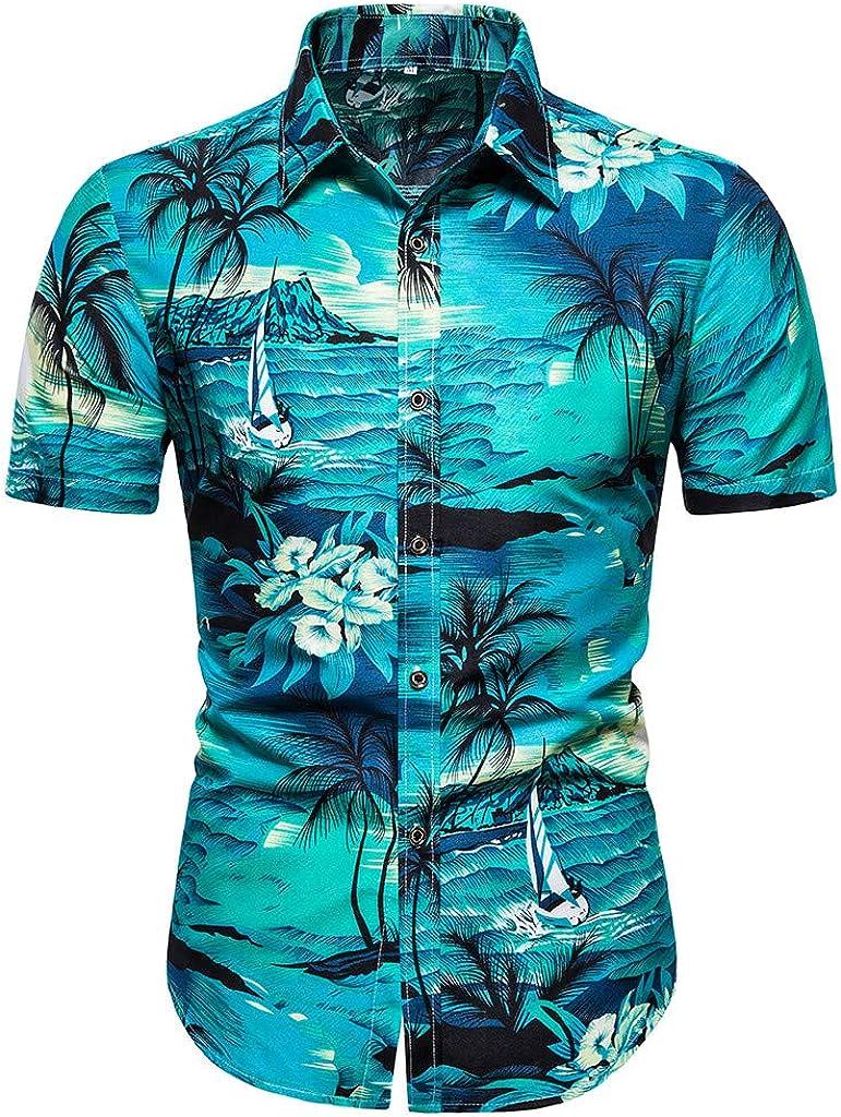 Landscap Men's Dress Shirt Summer Striped Printed Short-Sleeved Shirt Button Down Shirt Comfortable Slim Fit Shirt