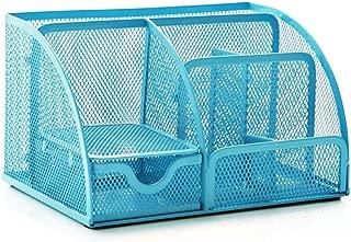 Office Desk Tidy Organiser Pen Holder Mesh Stationery Container (Blue)