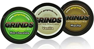 Grinds Coffee Pouches - 3 Can Sampler Pack - Mint Chocolate, Vanilla, Mocha - Tobacco Free, Nicotine Free Healthy Alternative