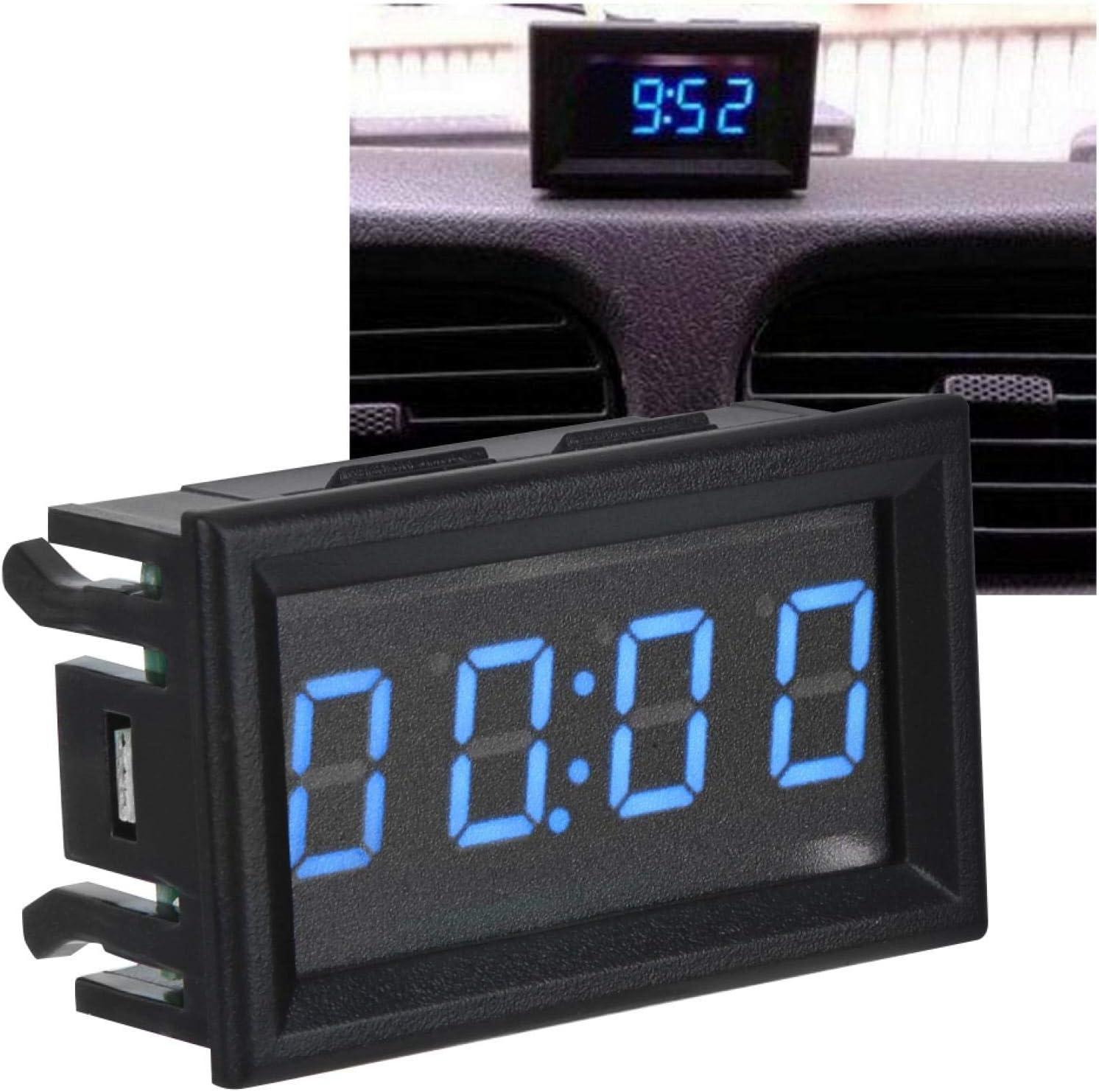 Blue Orologio per Auto Digitale aeroplani YB27T Resistenti allUsura per Barche di Automobili Ong Orologio per Auto a LED Durevole in ABS