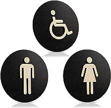 Toiletbord zwart hout toiletbord toilet deurbord dames heren (Ø 24 cm, dames + heren + gehandicapten)