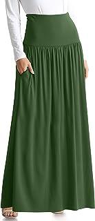 تنانير خضراء زيتوني للنساء مقاس كبير تنورة ماكسي بخصر مرتفع وتنورة طويلة خضراء زيتوني (مقاس XXX-Large، أخضر زيتوني)