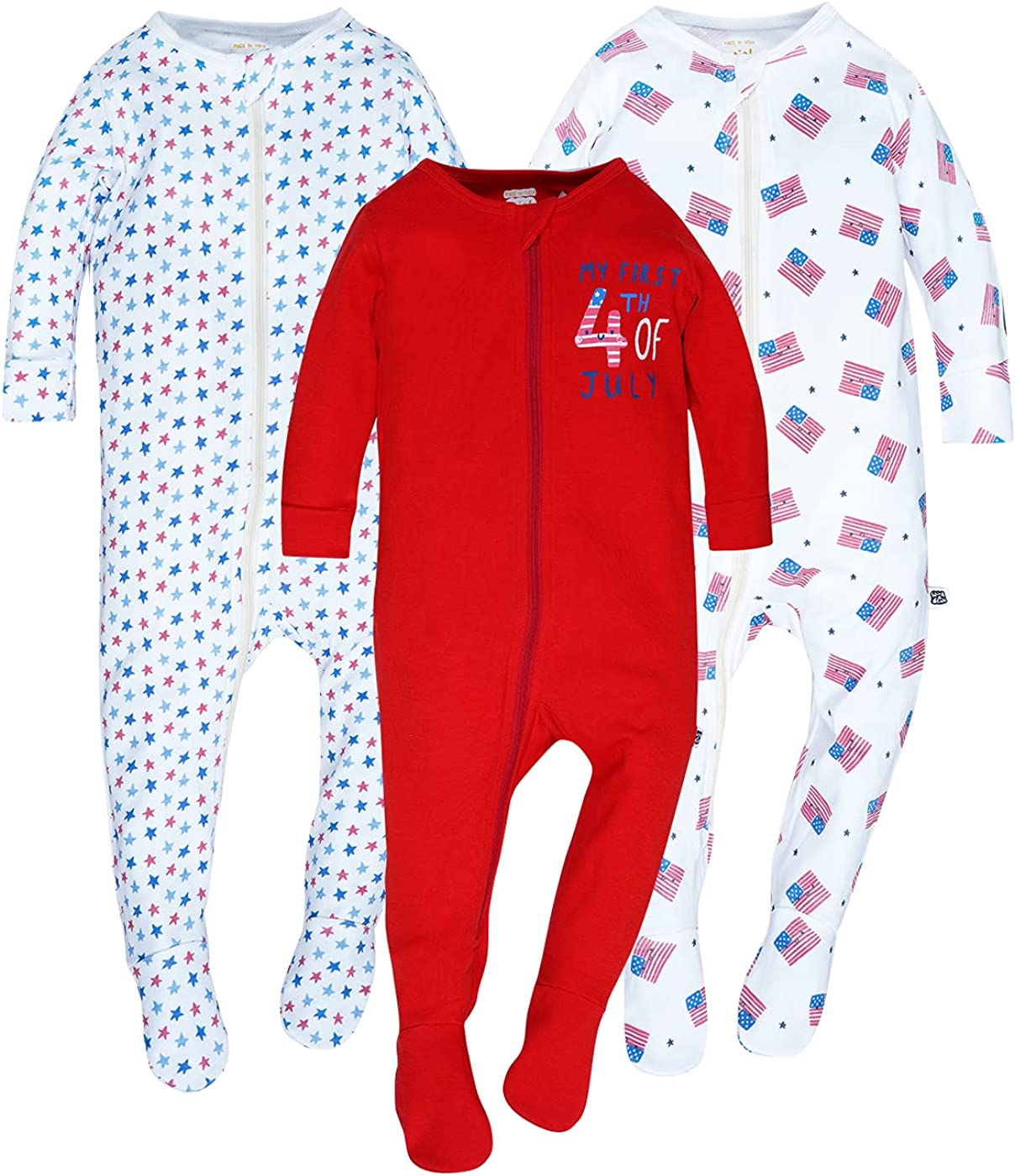 WINK & BLINk 4th of July Organic Baby Sleep N' Play, 3-Pack Jumpsuit, 100% Organic One-Piece Cotton Fotted Pajamas