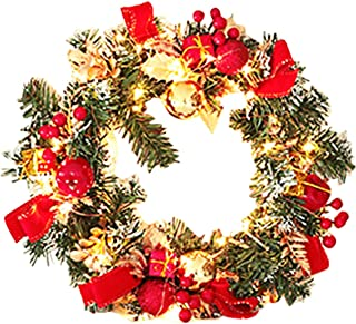 Christmas Wreath, 30cm 50 LEDs Artificial Christmas Garland, with Mixed Pine Cones Berries Snowflowers Silver Bristles, fo...