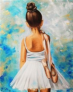 DIY Pintura por Números para Adultos Pintura al óleo para Niños Principiantes Niña Bailando Ballet Pintar por Numeros Kits sobre Lienzo 40x50cm Sin Marco