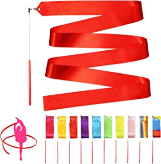 Novelty Place 10 Pieces Dance Ribbons Streamers - 6.6Ft Unisex Kids' Gymnastics Ribbon Wands - Perfect Rhythm Sticks for T...