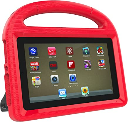 LEDMOMO Fire 7 2017 Kids Case, Handle Stand EVA Protective Cover Shock Proof Case for Amazon Kindle Fire 7 Tablet (Red)