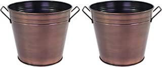 """Hosley's Set of 3 Antique Bronze Bucket- 7"""" Diameter. Ideal for Dried Floral Arrangements at Home for Weddings Gift Spa an..."""