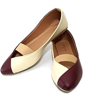 FIT O FIT Faux Leather Flat Ballerinas for Women