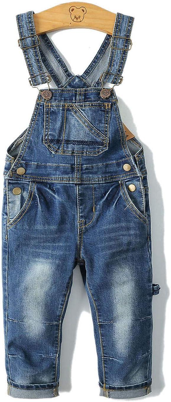 KIDSCOOL SPACE Little Girl Boy Jean Overalls,Toddler Ripped Denim Cute Slim Pants