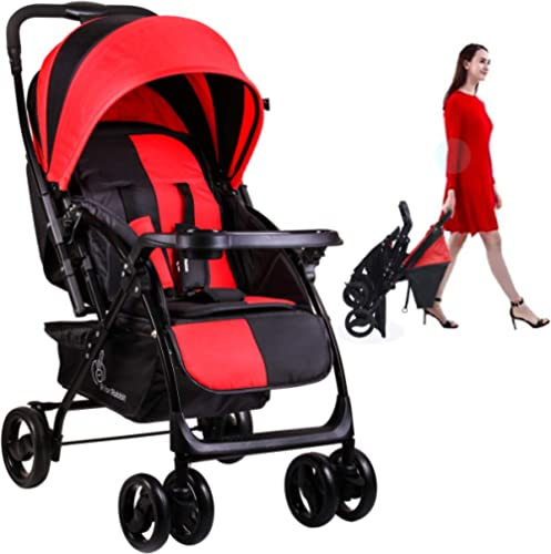 R for Rabbit Cuppy Cake Grand Stroller and Pram for Baby|Kids|Infants|New Born|Boy|Girl of 0 to 3 Years(Red Black)