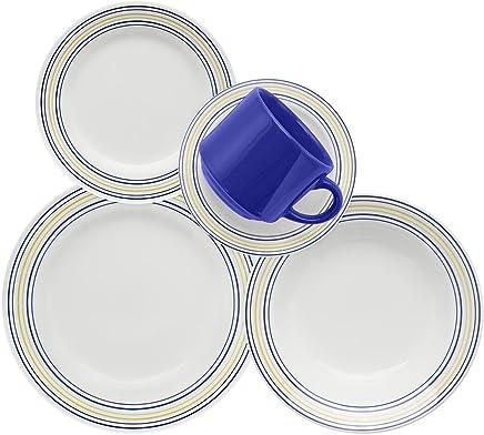 1 Aparelho de Jantar e Chá 20 Peças Biona Donna Elis Multicor