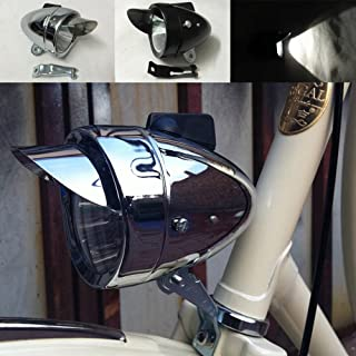 Motor-acc Classical Bright Metal Chrome Silver/Black Vintage Bicycle Bike Headlight Retro LED