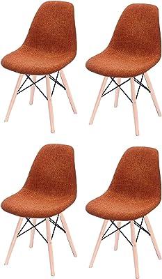 Set di 4 sedie in tessuto, rivestimento in polipropilene e gambe in legno di faggio, comode e robuste, collezione retrò arancione