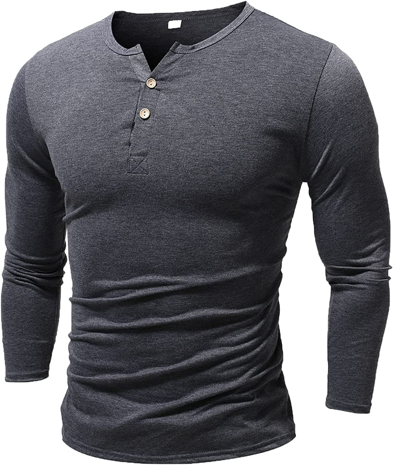Men's Basic T-Shirt Casual Long Sleeve Crew Neck Tees Top Slim Fit Solid Color Button Fashion Shirts Blouse