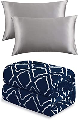 Bedsure Satin Pillowcase for Hair and Skin and Flannel Fleece Blanket Printed