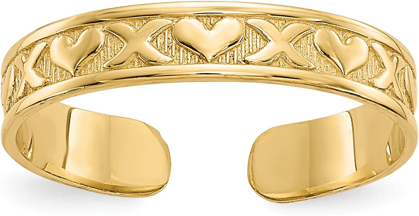 14K Yellow Gold X & Hearts Toe Ring