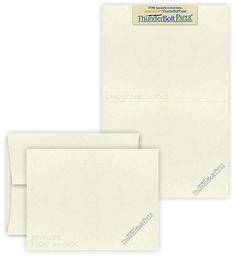 5X7 Folded Size with A-7 Envelopes - Natural Cream White - 50 Sets (7X10 Cards Scored to Fold in Half) Blank Pack, Smooth Finish -Invitations, Greetings, Thank Yous, Notes, Occasions - 80# Cardstock