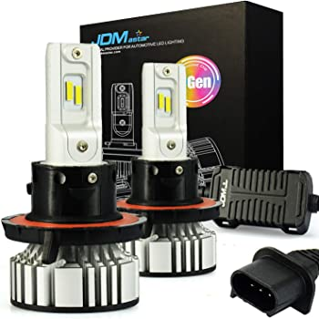 JDM ASTAR F2 H13 9008 Up to 30% More Vision White LED Headlight Bulbs with Adjustable Light Angel Not Blinding On Coming Driver
