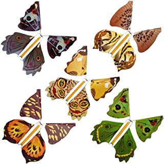 5/10/15 Pieces Magic Flying Butterfly Wind Up Toys for Card-Magic Fairy Flying Butterfly Rubber Band Powered Wind up Butte...