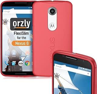 Nexus 6 Case, Orzly - FlexiSlim Case for NEXUS 6 (2014 Model Google Nexus 6 SmartPhone by Motorola) - Super Slim (0.5mm) Protective Phone Cover in Semi Transparent RED