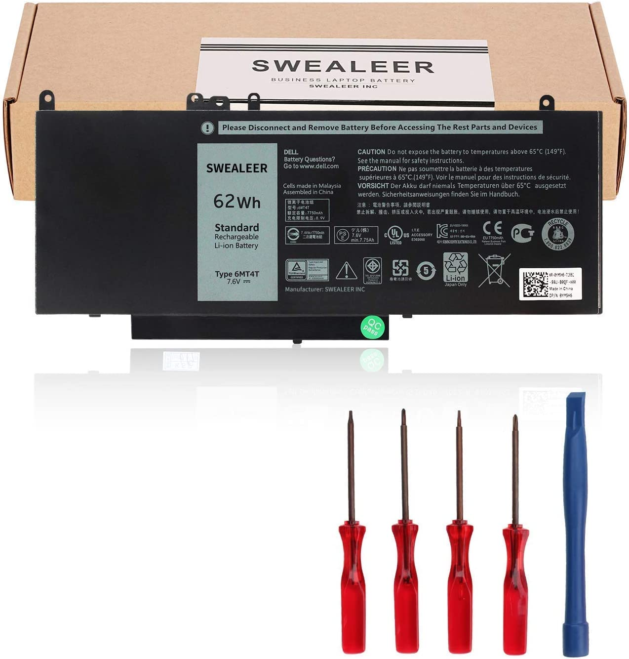 SWEALEER 6MT4T Laptop Battery Compatible with Dell Latitude 14 5470 E5470 15 5570 E5570 Precision 15 3510 M3510 Series Notebook Replacement for 7V69Y TXF9M 79VRK 07V69Y 0HK6DV 079VRK 0TXF9M [6MT4T]