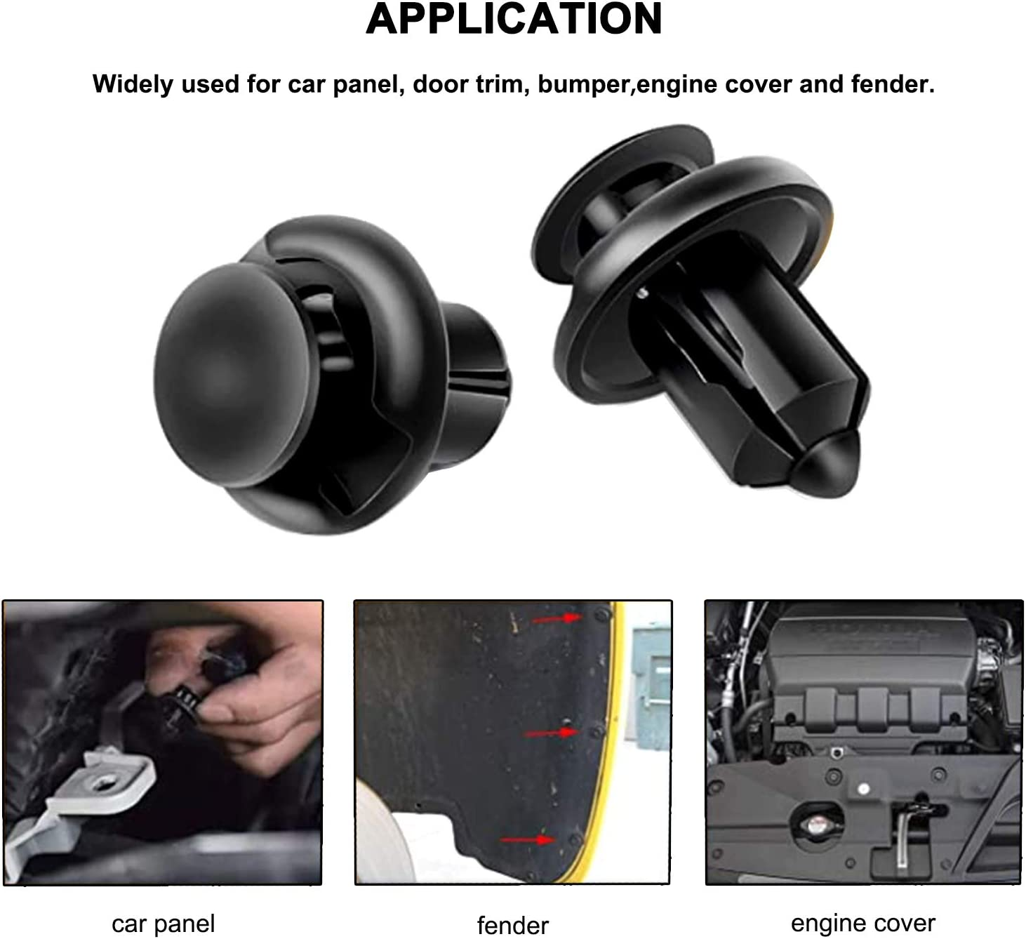 DROGO 192 PCS Car Retainer Clips Auto Push Pin Rivets Set and Fasteners Remover 12 Most Popular Sizes for Ford Toyota Honda-Black