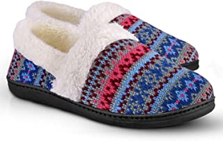 Women's Slip-On Knit Slippers Memory Foam Slippers Fuzzy Wool-Like Plush Fleece Lined House Shoes Indoor/Outdoor Anti-Skid Rubber Sole