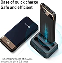 Portable Charger, SANAG 20000-mAh Power Bank (Wireless Charging Station | 2-Pack 10000 mAh Portable Charger) with Built-in Type C and Micro USB Cable for iPhone, iPad, Samsung and More (Blue)