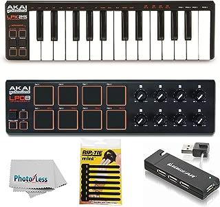 Akai Professional LPK25   25-Key Ultra-Portable USB MIDI Keyboard & USB-MIDI Pad Controller Bundle + 4 Port USB Hub + Pack of Cable Ties + Clean Cloth