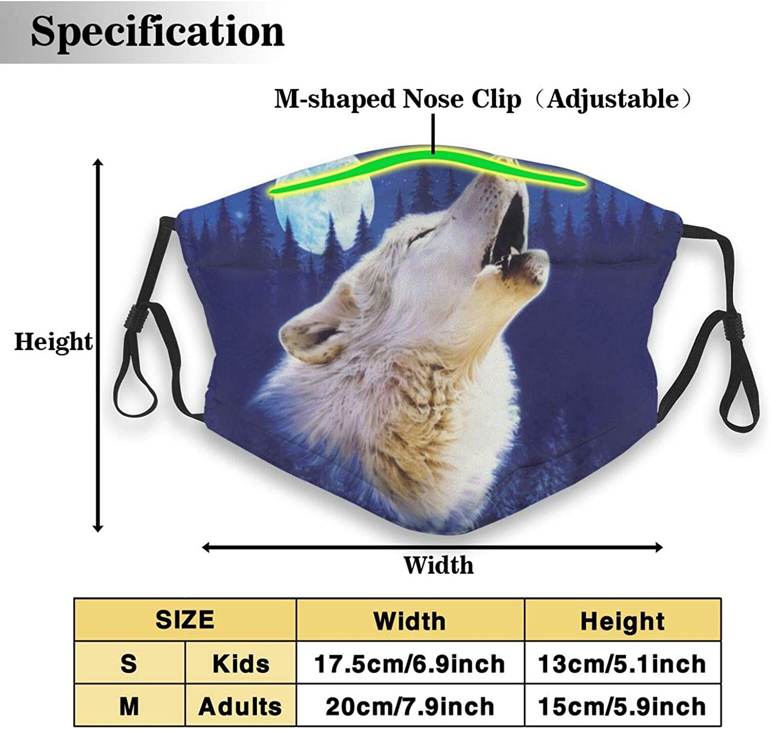 Reusable Wolf Face Mask, Washable Balaclavas with 2 Filters for Adults Outdoor