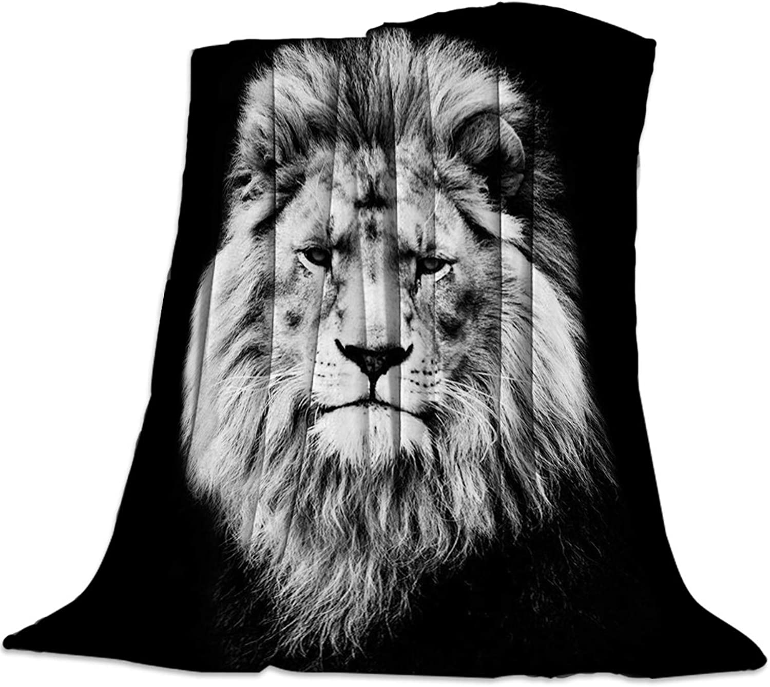YEHO Art Gallery 49x59 Inch Flannel Fleece Bed Blanket Soft ThrowBlankets for Girls Boys,Serious 3D Lion Head Animal Printing,Cozy Lightweight Blankets for Bedroom Living Room Sofa Couch