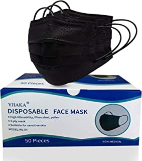 Yjiaka Disposable Black Face Masks 3 Ply for Protection Breathable Mouth Cover with Adjustable Nose Clip and Elastic Earlo...