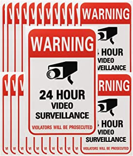 Tupalizy 24 Hours Video Camera Surveillance Sign Stickers Decals Self-Adhesive Home Business Alarm System Security Warning...
