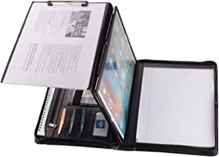 Professional Portfolio Business Organizer, Leather Padfolio Case with Folding Center Panel, for Surface Pro 7 /Pro 6/5