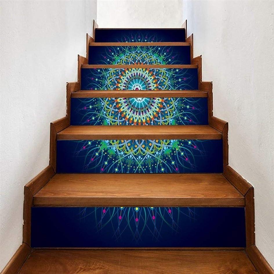 ウナギ種形式TJTJ クリエイティブ3D階段リフォームDIYの家の装飾のデジタル印刷ウォールステッカー6本 (Color : A)
