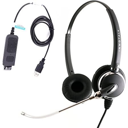 Computer Headset with Voice Tube mic, Clear Sound USB Headset, Plug N Play in-line Control, Compatible with Plantronics QD for MS Lync, Skype, Cisco Jabber, Avaya One-X Agent