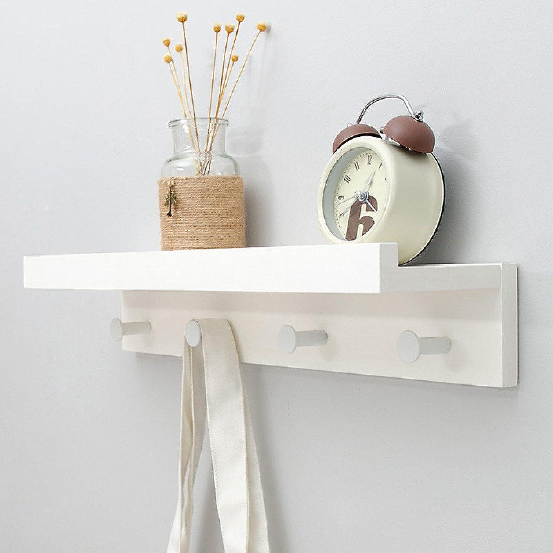 LIAN Storage Rack Storage Shelf Creative Wordboard Shelf Wall-Mounted Wall Solid Wood Hook Wall Shelf (color   White, Size   4 Hooks)