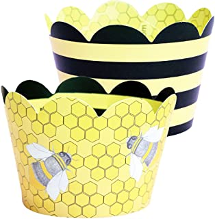 Bumble Bee Cupcake Wrappers - 36 Reversible | Yellow and Black Stripe Girl Baby Shower Decoration, Honey Bee Hive Cup Cake Holder, What Will it Be Gender Reveal Party Supplies, Confetti Couture