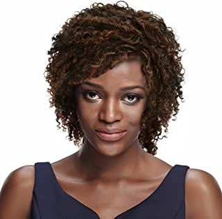 """SLEEK 8"""" Chin-Length Mixed Color Short Curly Wigs with Brazilian Hair (Wispy Layers of Spiral Curls, Dark & Light Auburn &..."""