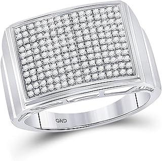 FB جواهر الفضة الاسترليني للرجال جولة الماس مستطيل العنقودية الدائري 1/4 Cttw