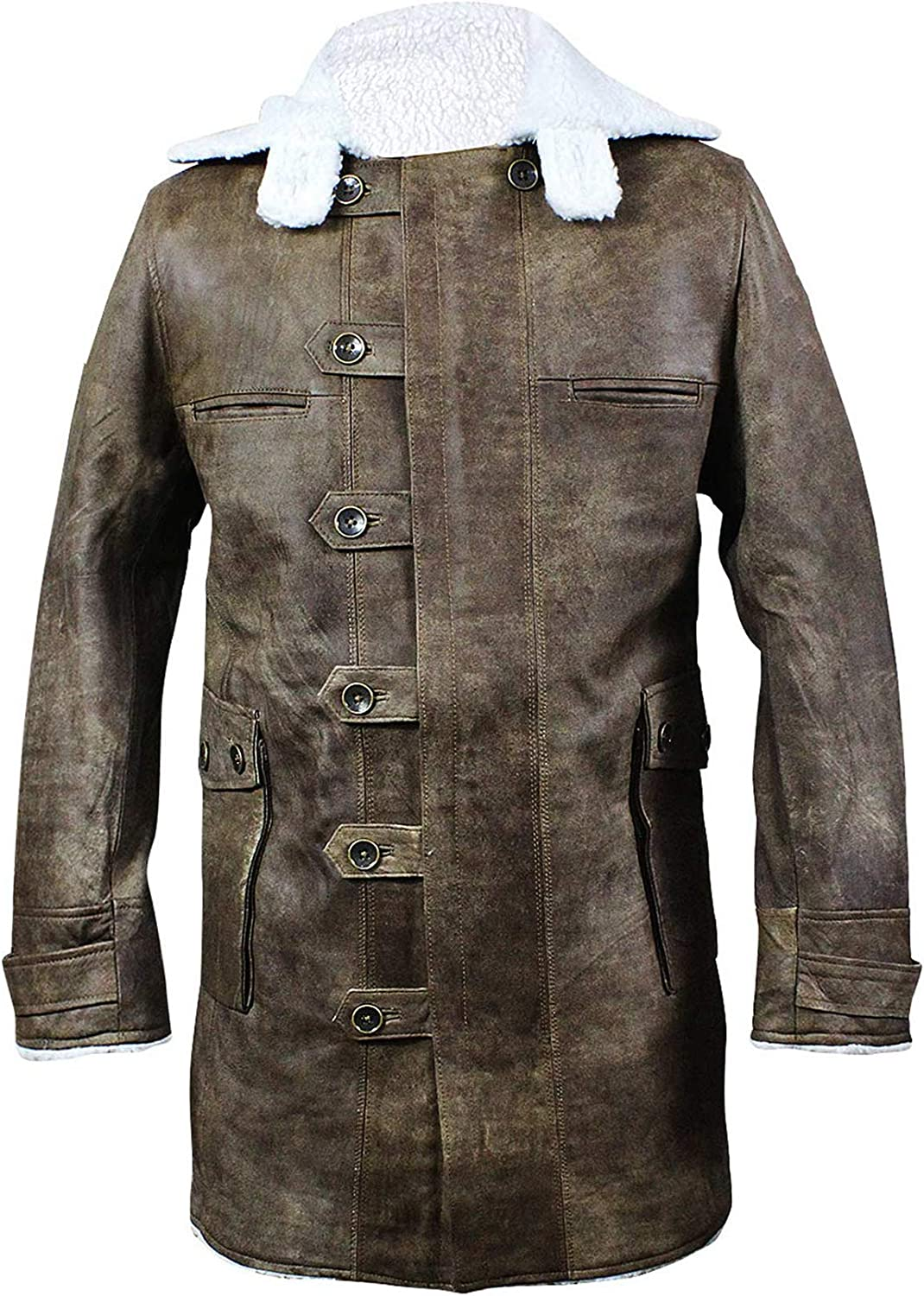 UGFashions Tom Dark Knight Rises Bane Fur Shearling Antique Brown Trench Leather Coat