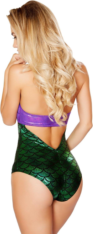 Roma Womens Ravewear Festival Mermaid Print Halter Style Romper with Padded Bra Cups